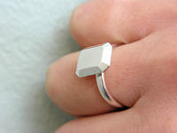 Square Stone cast in silver